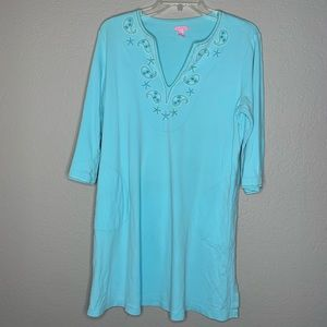 Lily Pulitzer Teal Blue Swim Cover Up Tunic Dress